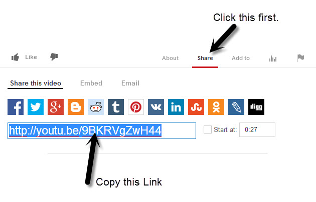 YouTube Share Process